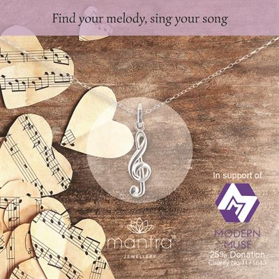 Treble Clef Charity Necklace for Modern Muse
