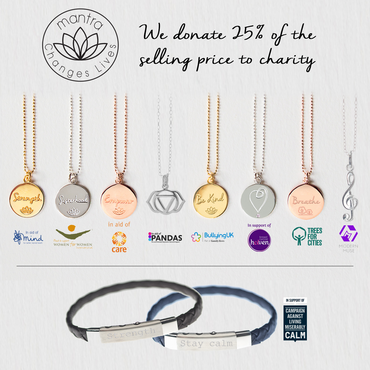 Shop with purpose - Mantra Charity necklaces