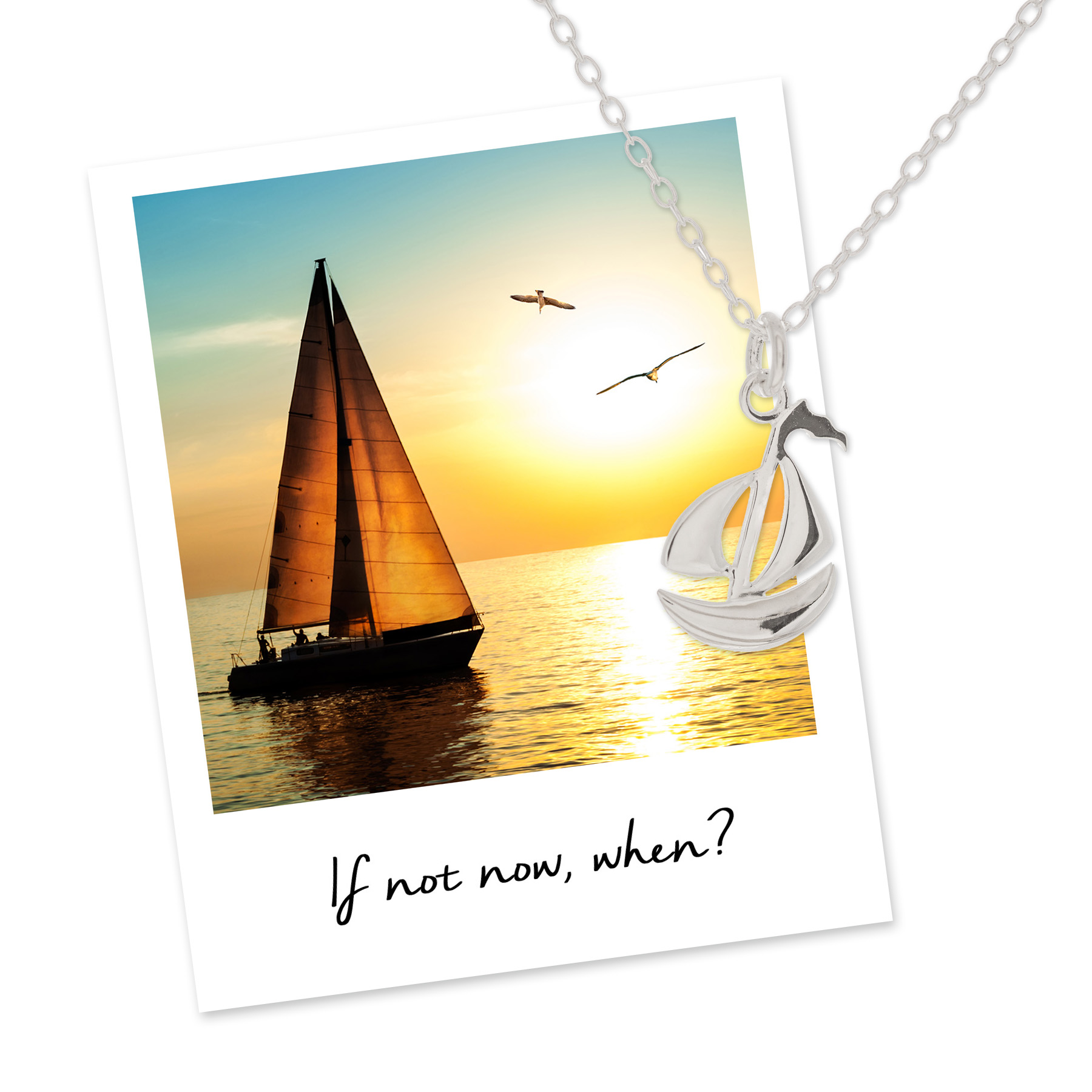 mantra sailing boat necklace