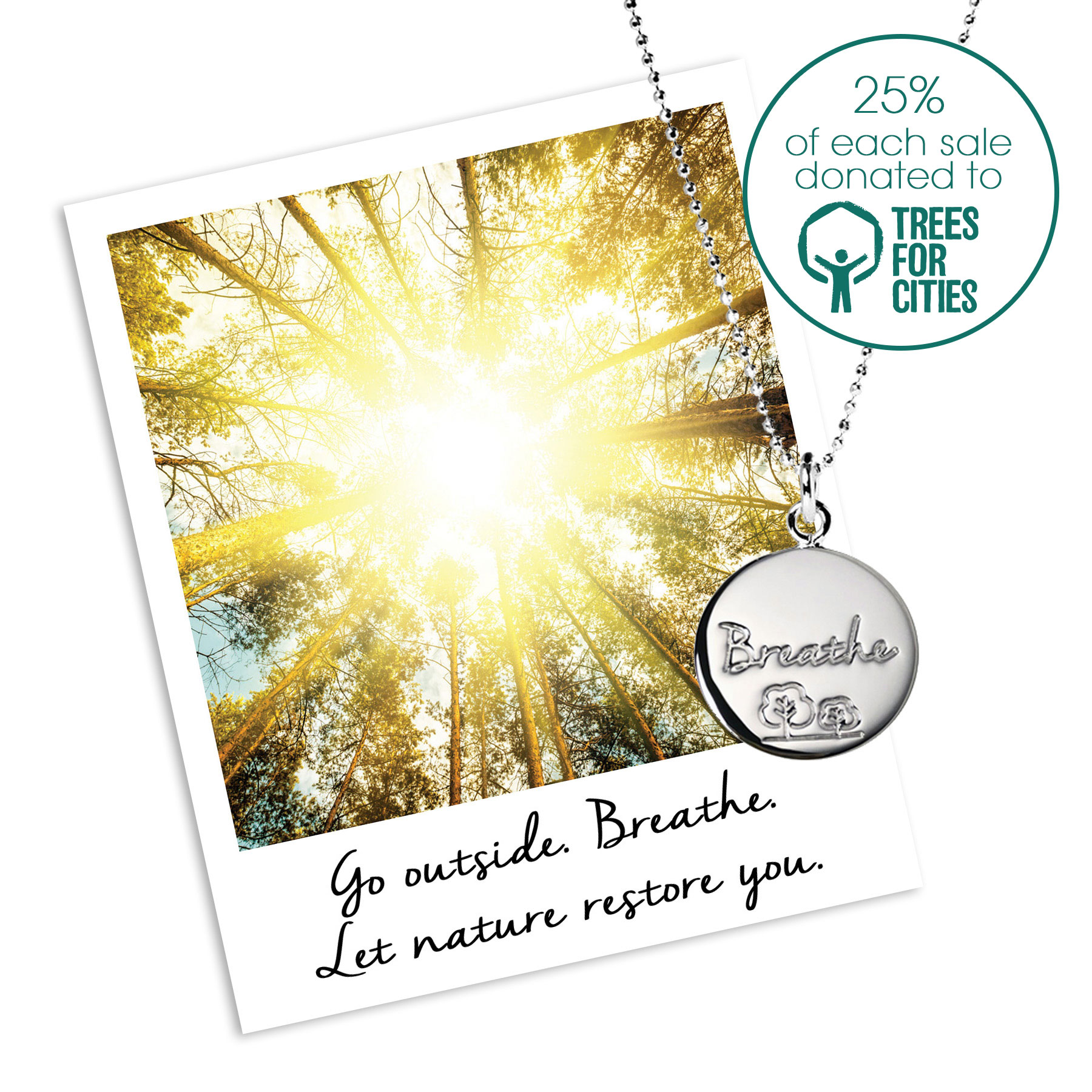 Trees for cities charity necklace - Mantra