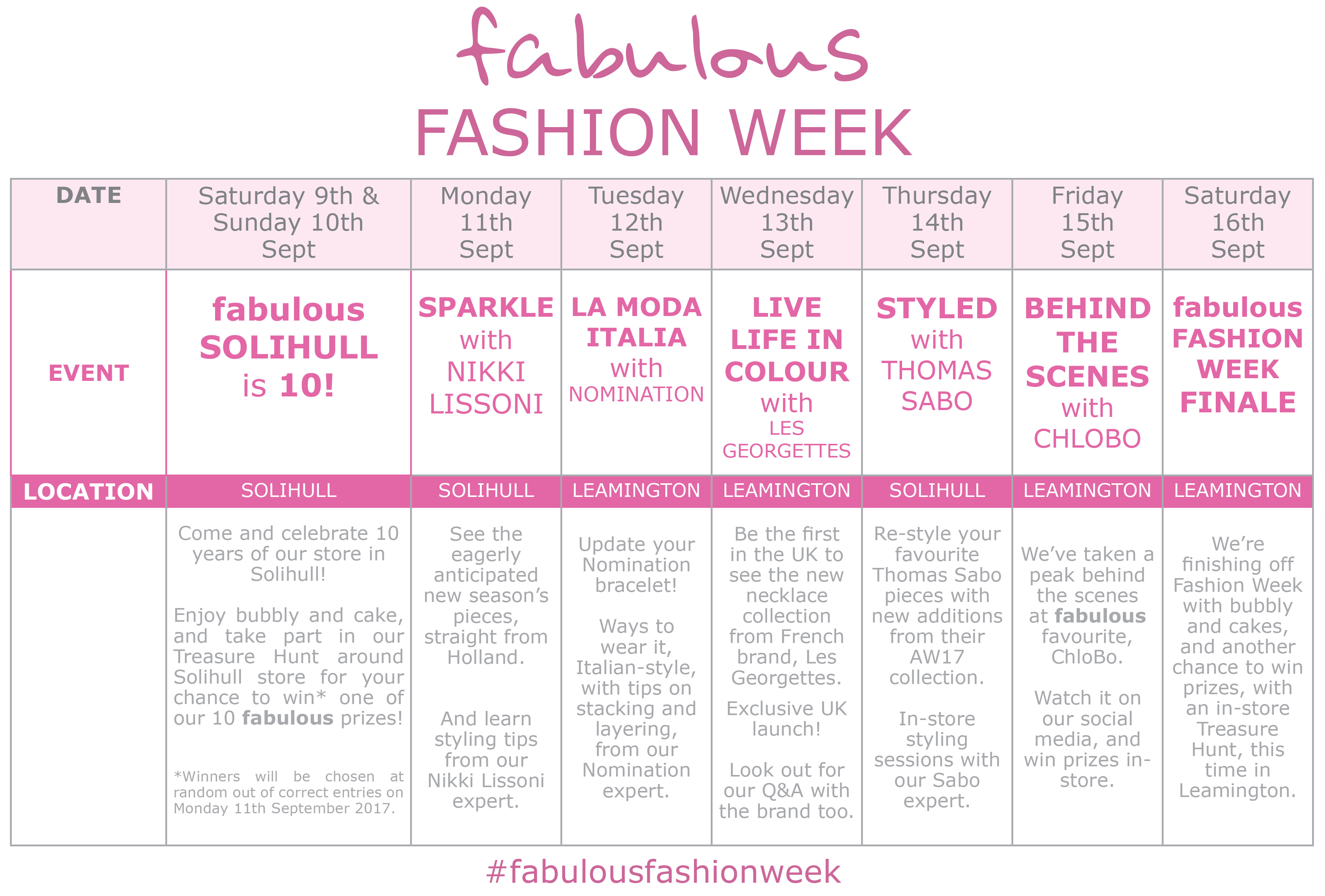 fabulous Fashion Week Events Calendar