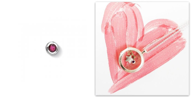 Dower and Hall July Ruby Birthday Locket