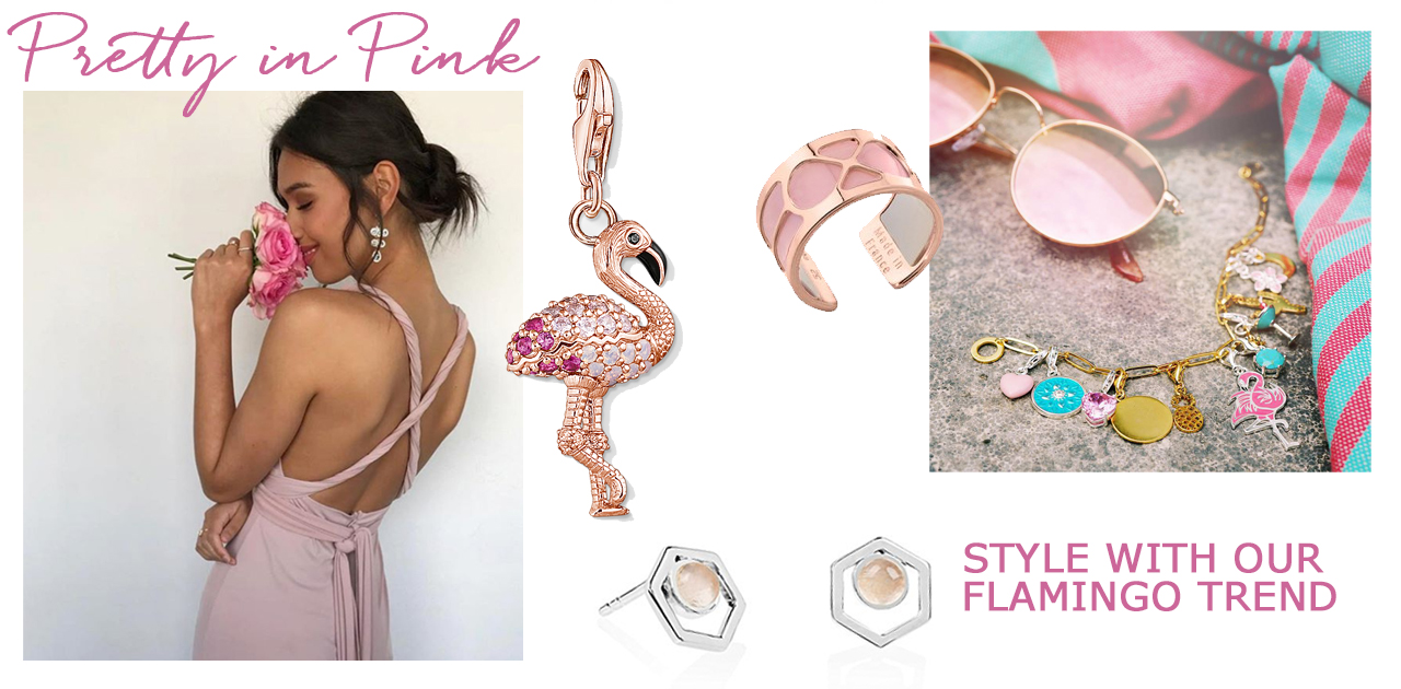 spring summer designer jewellery pink flamingo rose gold garden party wedding jewelry trends 2018