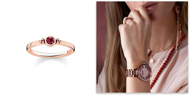 Thomas Sabo Ruby Rose Gold Ring