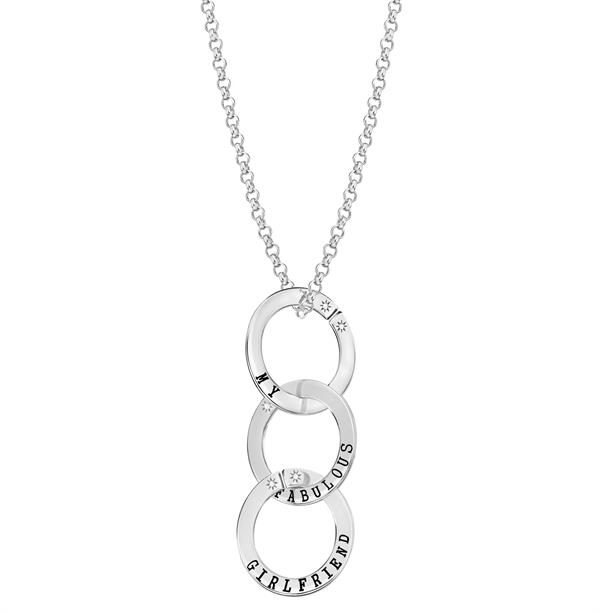 Lily & Lotty Scripted Our Darling Daughter Silver Necklace - 20 jPeXw