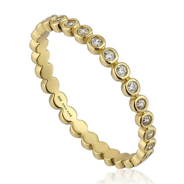 Touch of Sparkle Gold Plated CZ Band Ring (54) - Ania Haie