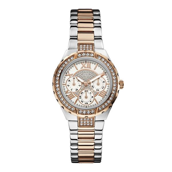 Viva Silver and Rose Gold Sparkle Watch