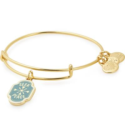 Buy Alex and Ani Seek Peace Colour Infusion Bangle in Shiny Gold