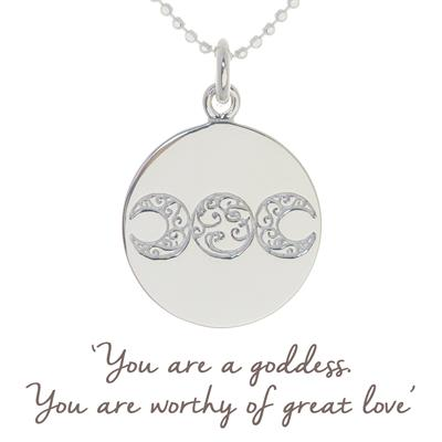 Buy Mantra Mel Wells Goddess Necklace in Silver