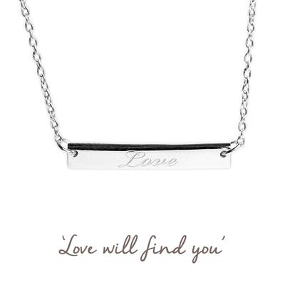 Buy Love Mantra Bar Necklace in Silver