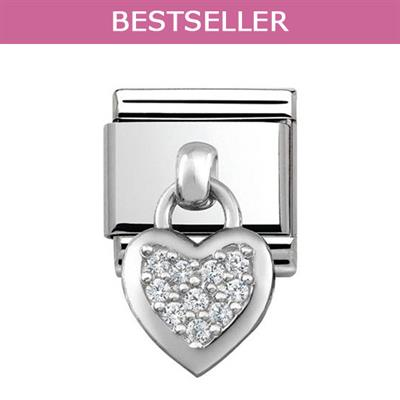 Buy Nomination Silver Hanging Heart Charm with CZ Embellishment
