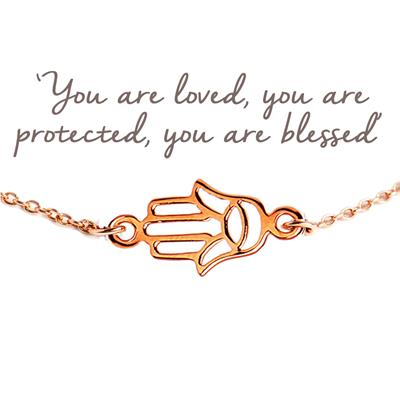 Buy Hamsa Hand Mantra Bracelet in Rose Gold
