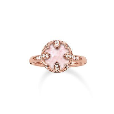 Buy Thomas Sabo The Purity of Lotos, Rose Gold & Rose Quartz Ring, Size 54
