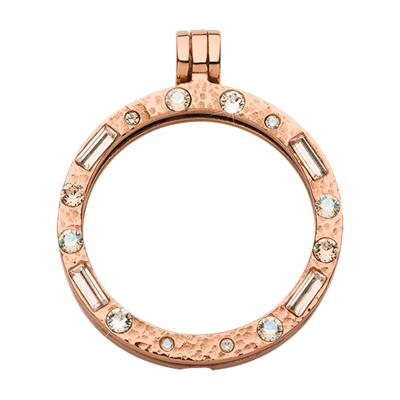 Buy Nikki Lissoni Medium Hammered Rose Gold Peach Swarovski Carrier