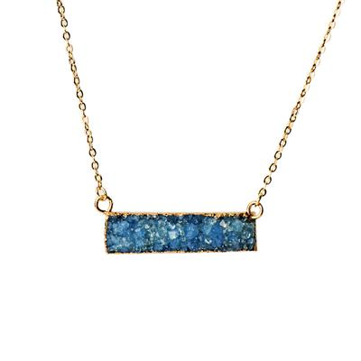 Buy Druzy Blue Agate Bar Necklace