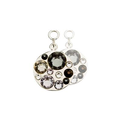 Buy Nikki Lissoni Black Sparkling Silver Coin Drops