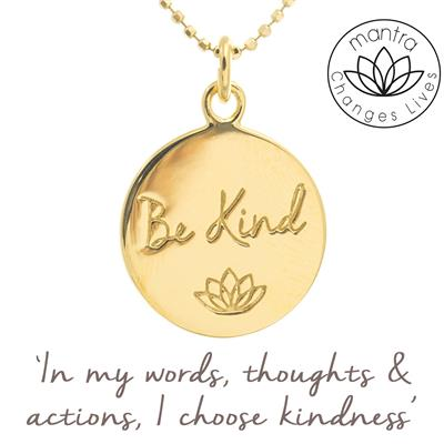 Buy Mantra Be Kind Bullying UK, Charity Necklace in Gold