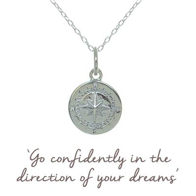 Buy Compass Mantra Necklace in Silver