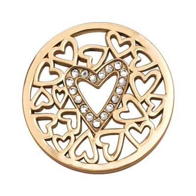 Buy Nikki Lissoni Yellow Gold Surrounded By Hearts Coin 33mm