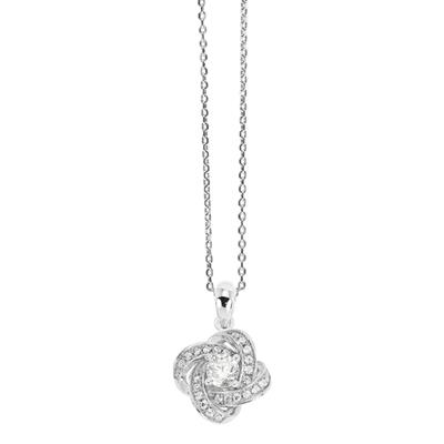 Buy Tresor Paris Allure Sterling Silver & White Crystal Knot Necklace