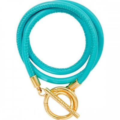 Buy Nikki Lissoni Turquoise and Gold Leather Wrap Bracelet 19cm