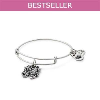 Buy Alex and Ani Four Leaf Clover Disc bangle in Rafaelian Silver Finish
