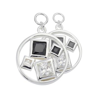 Buy Nikki Lissoni Silver Squared Crystal 15mm Earring Coins