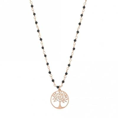 Buy Nomination Antibes Rose Gold and Black Crystal Tree of Life Necklace