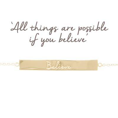 Buy Mantra Believe Bar Bracelet in Gold