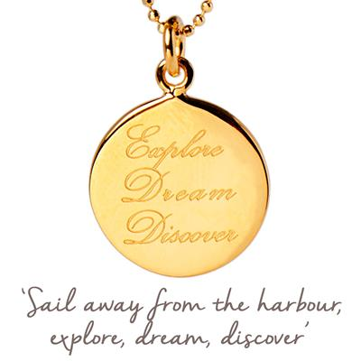 Buy Mantra Explore, Dream, Discover Necklace in Gold