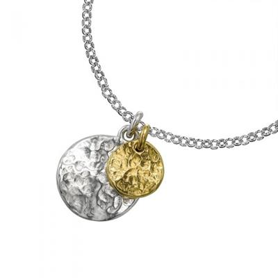 Buy Dower and Hall Sterling Silver and Gold Double Disc Pendant
