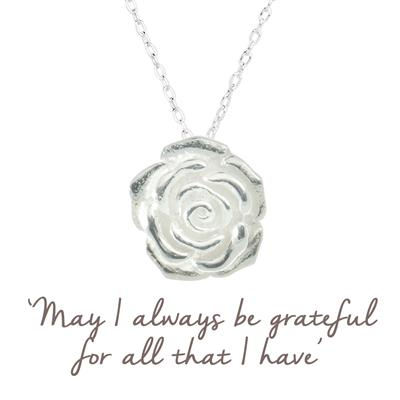 Buy Grateful Rose Mantra Necklace in Silver