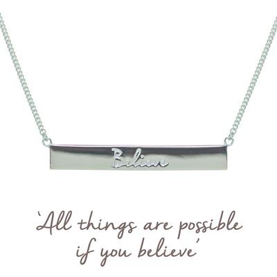 Buy Silver Mantra Believe Bar Necklace
