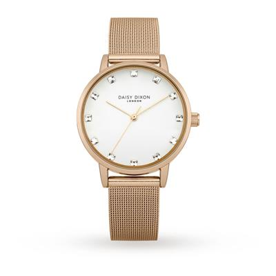 Buy Daisy Dixon Rose Gold CZ Mesh Olivia Watch