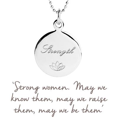 Buy Strength Disc Mantra Necklace in Silver