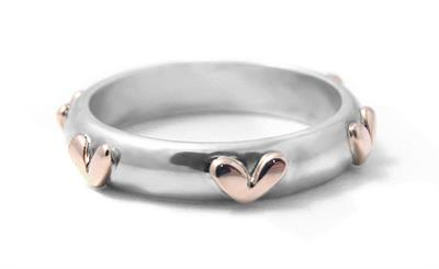 Rose Gold Hearts Ring