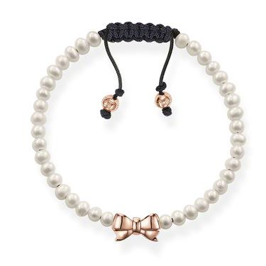 Buy Thomas Sabo Fresh Water Pearl & Rose Gold Bow Love Knot Bracelet
