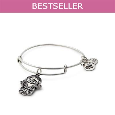 Buy Alex and Ani Hand of Fatima Disc bangle in Rafaelian Silver Finish