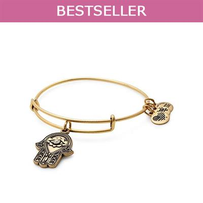 Buy Alex and Ani Hand of Fatima Disc bangle in Rafaelian Gold Finish