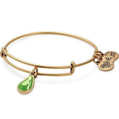 Buy Alex and Ani August Peridot Birthstone bangle in Rafaelian Gold Finish