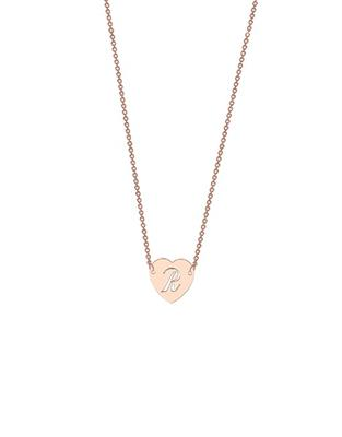 Buy me.mi Cut Out Initial Heart Pendant in Rose Gold
