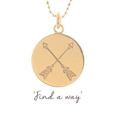 Buy Mantra Find a Way Crossed Arrow Disc Necklace in Gold