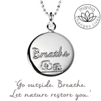 Buy Mantra Breathe Charity Necklace in Silver