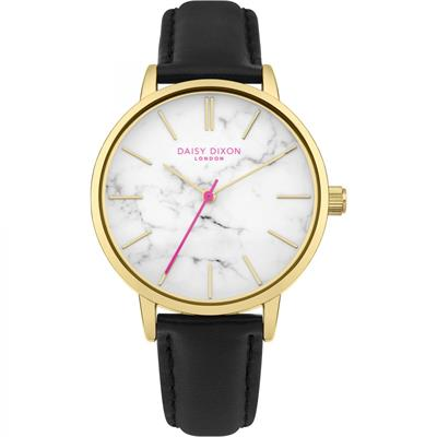 Buy Daisy Dixon Nancie Yellow Gold and Marble Black Leather Watch