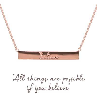 Buy Rose Gold Believe Bar Mantra Necklace