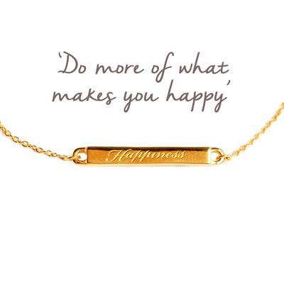 Buy Happiness Mantra Bar Bracelet in Gold