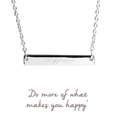 Buy Happiness Mantra Bar Necklace in Silver