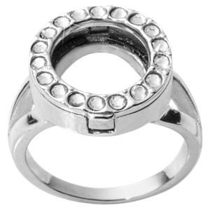 Buy Nikki Lissoni Silver and Crystal Coin Ring Size 6