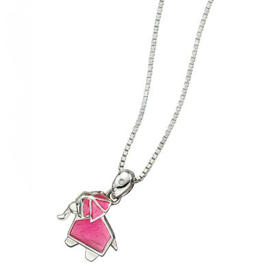 Buy DforDiamond Pink Origami Elephant Children's Necklace