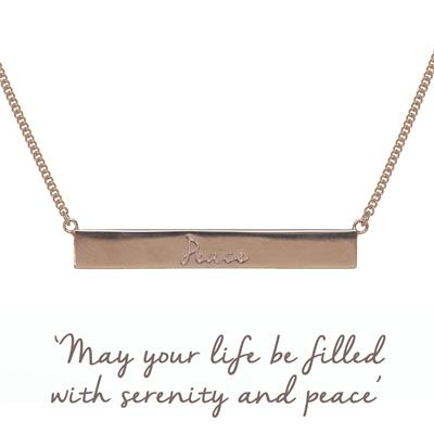Buy Peace Bar Mantra Necklace in Rose Gold
